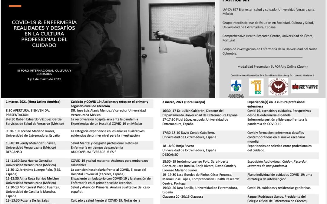 Borja Rivero, ponente en «III Foro Internacional Cultura y Cuidados»
